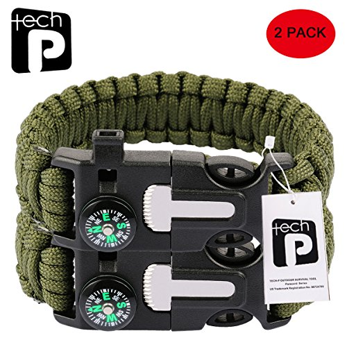 TECH-P-5-in-1-Multifunctional-Paracord-Bracelet-with-Compass-Flint-Fire-Starter-Scraper-Whistle-2-Pack-Army-Green
