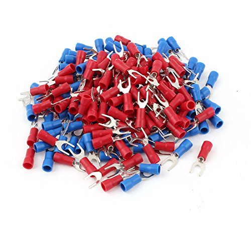 Fork Spade - Uxcell 22-16 AWG Wire Cable Connector Fork Spade Terminal #8 with 200 Piece, Red/Blue