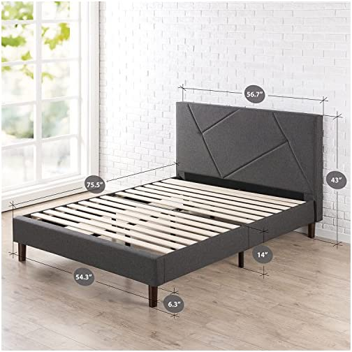 ZINUS Judy Upholstered Platform Bed Frame / Mattress Foundation / Wood Slat Support / No Box Spring Needed / Easy…