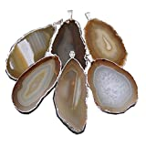 1 Tan/Brown Agate Slice Pendant Plated in Silver Rock Paradise Exclusive Certificate of Authenticity