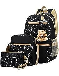 Tibes vintage canvas backpack+shoulder bag+purse 3pcs