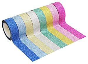 """HipGirl 8 x 4.5yd 5/8"""" Glitter Sparkle Washi Tape for Christmas Gift Wrapping"""