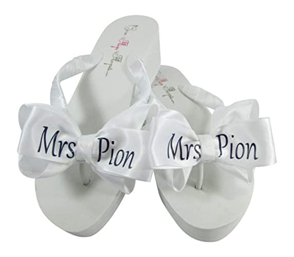 dda681fcae6f Amazon.com  Customized Flip Flops in your Wedding Colors - Mrs Last Name on  the Bows for Reception and Dancing Shoes  Handmade