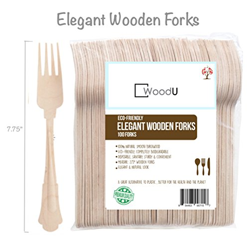 Elegant Disposable Wooden Forks, 100pcs 7.75