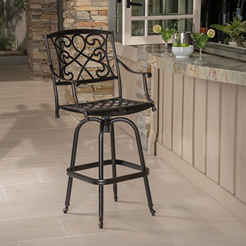 Christopher Knight Home Paris Outdoor Cast Aluminum Bar Stool