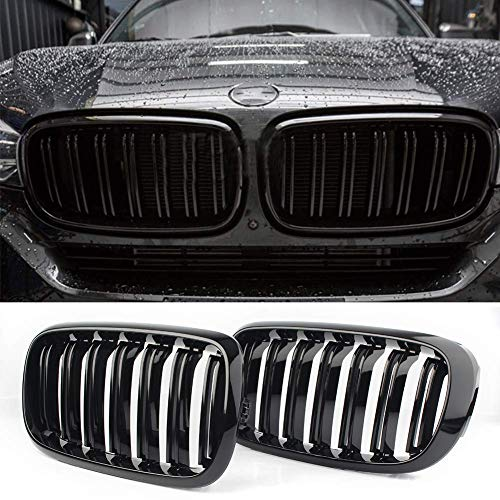 Front Replacement Kidney Grille Grill Compatible with BMW X5 Series F15 X6 Series F16 X5M F85 X6M F86 (Gloss Black) (2018 Bmw X5 Grill)