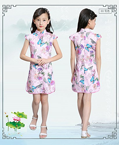 ACVIP Kids Little Girl's Jacquard Chinese Qipao Dress (7-8 years/Tag 150, Butterfly) by ACVIP (Image #2)