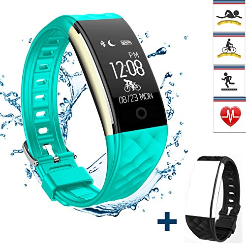 Fitness Tracker Heart Rate Monitor, REDGO Activity Health Tracker Waterproof Smart Wristband, Pedometer Sleep Monitor Step Calorie Counter Bluetooth Bracelet for Swimming Bicycling, Teal