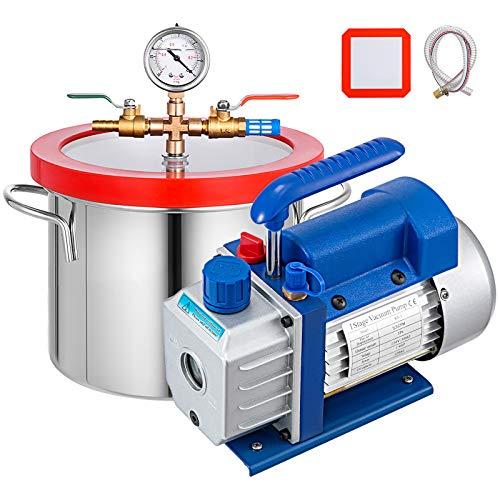 Bestauto 1.5 Gallon Vacuum Degassing Chamber Kit Stainless Steel Degassing Chamber 5.7L Vacuum Chamber Kit with 2.5 CFM Vacuum Pump - Not for Wood Stabilizing