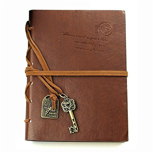 Classic Retro Leather Bound Blank Pages Journal Diary Notepad Notebook Chocolate