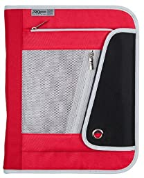 Mead PRO Platinum Heavy-Duty 3-Ring Zipper Binder, 1.5 Inch Capacity, 11.12 x 13.75 x 2.5 Inches, Red and Black (72860)