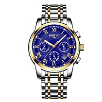 Mens Watches Waterproof Chronograph Stainless Steel Analog Quartz Watch Men Luxury Brand Fashion Dress Business Wristwatch Blue
