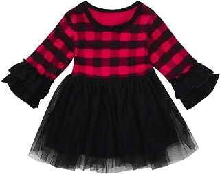 Longra Christmas Baby Dress - Toddler Baby Girl Plaid Ruffles Gauze Tutu Dresses Christmas Xmas Clothing Dress for 0-4 Years