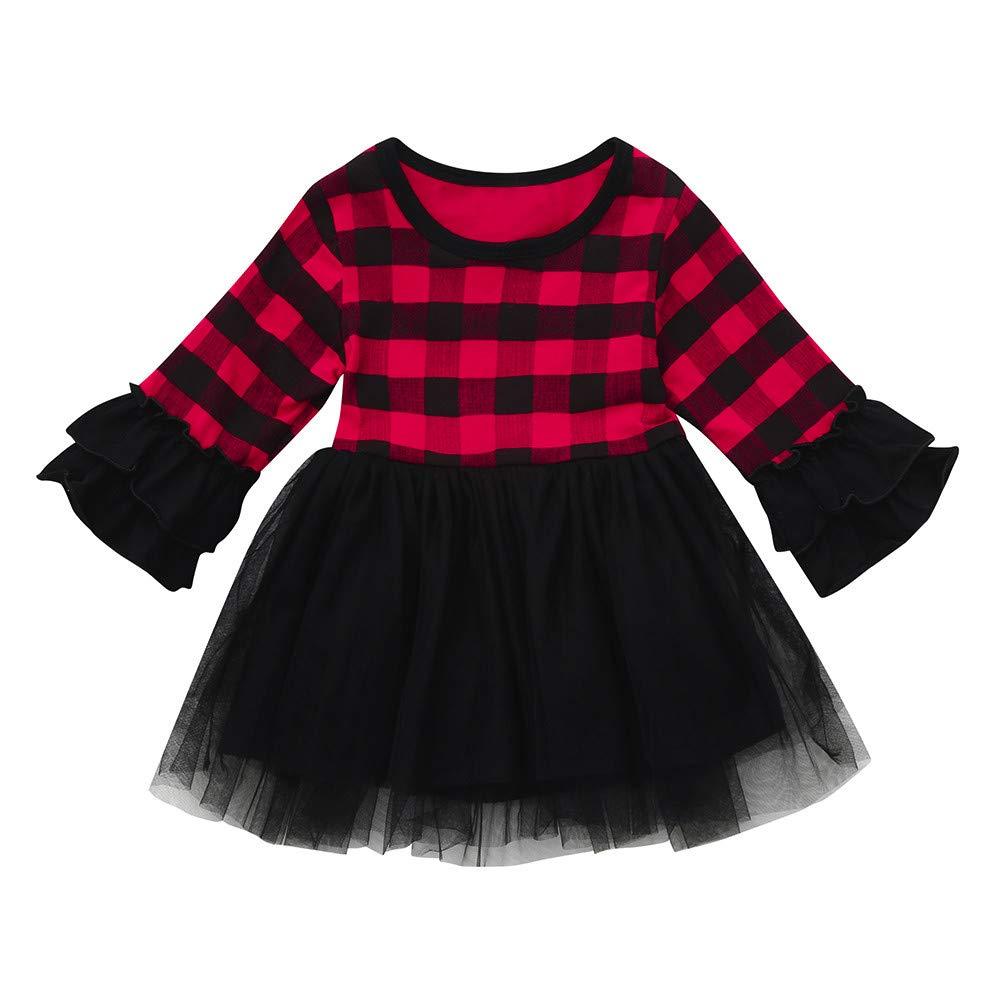 Baby Girl Christmas Dress Little Girls Xmas Ruffles Long Sleeve Plaid Tutu Dresses Party Clothing (age: 3-4 Years, Red) Fdsd