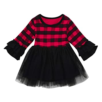 c498ad4e5 Baby Girl Christmas Dress Little Girls Xmas Ruffles Long Sleeve Plaid Tutu  Dresses Party Clothing (