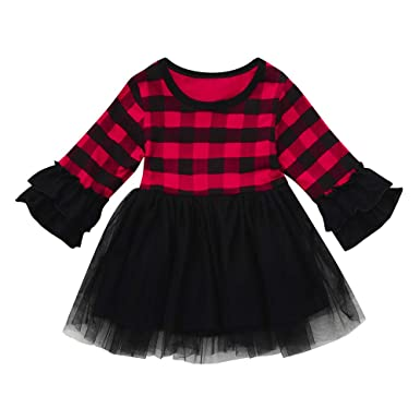 8eb9209f9 EnjoCho Toddler Kids Baby Girl Clothes Long Sleeve Christmas Plaid Cotton  Cute Ruffle Spring Autumn Party