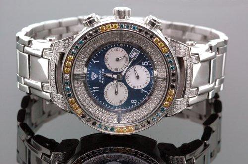 Aqua Master Mens 4.25ctw Diamond Watch - W97 by Aqua Master