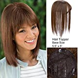 AISI HAIR Human Hair Topper with Bangs Clip in Topper For Women Short 12''/12inch Light Brown 45g