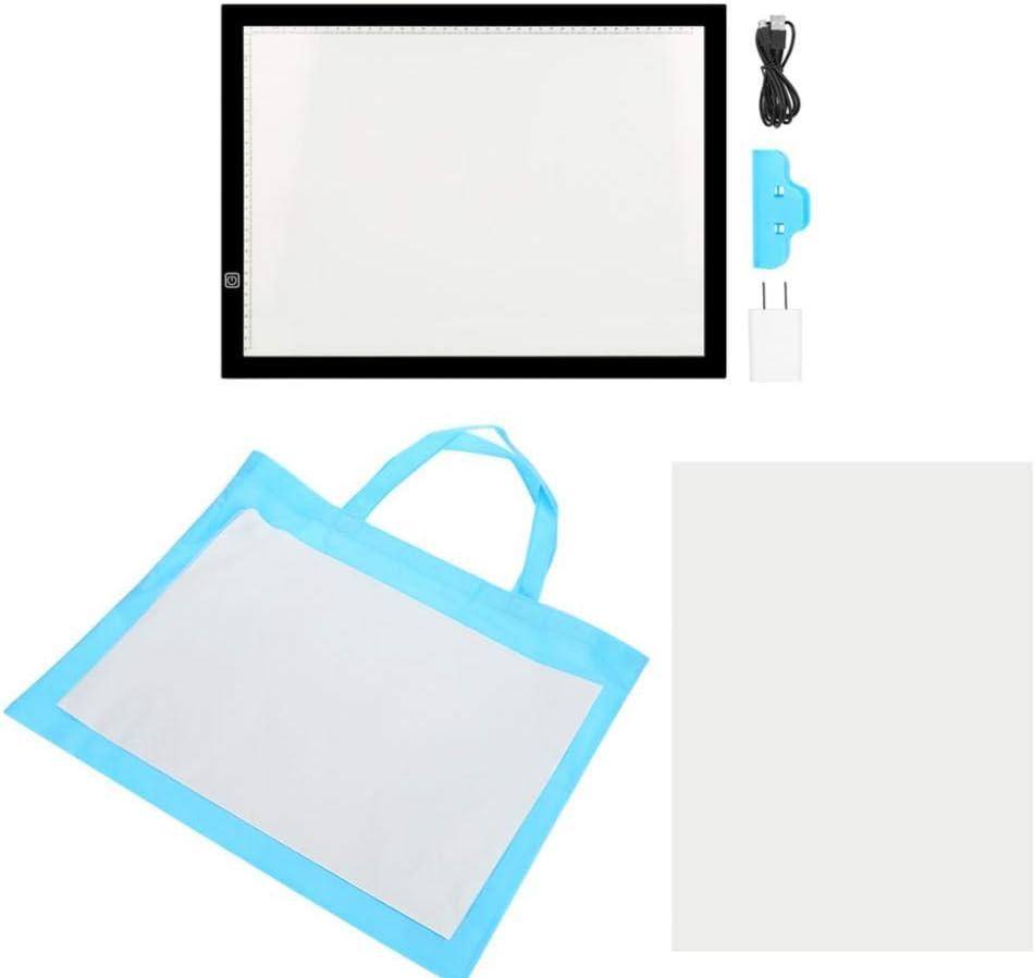 Mesa de luz LED A3, luz LED, caja de luz portátil, tablero de dibujo con cable USB, control táctil, brillo ajustable para dibujar diseños.: Amazon.es: Hogar
