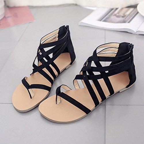 Sandales bohème à sangle chaussures gladiateurs GreatestPAK flops chaussures féminines plates talons Noir Z1dWwtxa