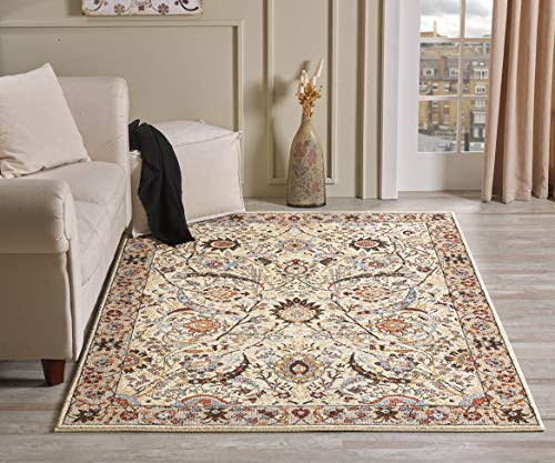 Oriental Dining Room - Golden Rugs Area Rug 8x10 Traditional Carpet Oriental Living Room Bedroom Dining Oriental Vintage Floral Texture for Bedroom Living Dining Room 6909 Gabbeh Collection (8x10, Cream)
