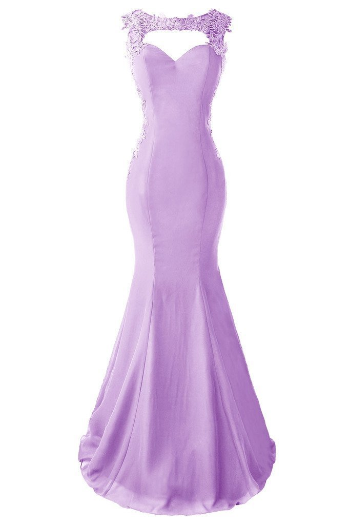 Topdress Women's Mermaid Prom Dress Lace Appliques Sheer Back Evening Gowns Lavender US 20Plus