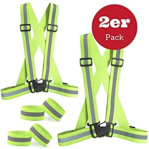 SGODDE Reflective Vest Set, Lightweight Adjustable Elastic Safety Vest Motorcycle Jacket with 4 Arm leg Straps for Running, Jogging, Cycling(2 Pack)