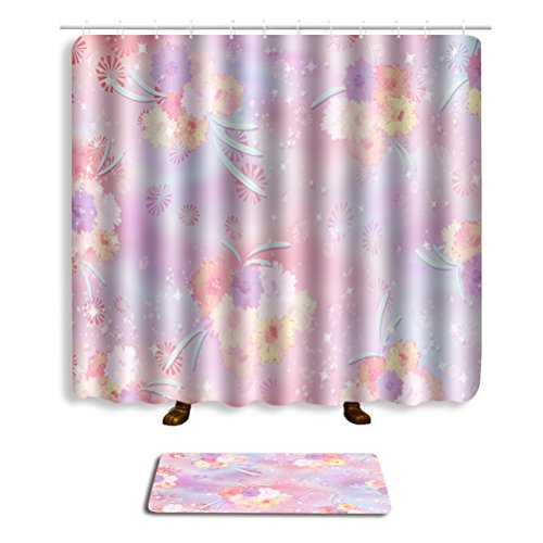 Bathroom Sets Shower Curtain Hooks Shower Rugs Polyester Fabric Marriage Gifts for Men and Women (ten) by Mrsrui