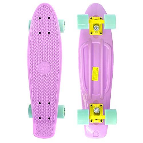 Scale Sports 22 Skateboard Complete Pastel Street Retro Cruiser Classic Plastic Deck