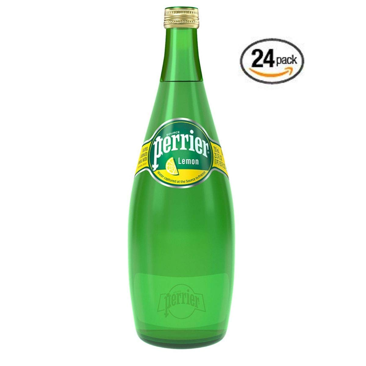 Perrier Lemon Flavored Carbonated Mineral Water, 25.3 fl oz. Glass Bottle (24 Count)