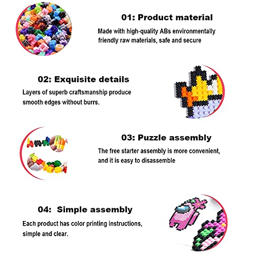 Figures Toys Among in US Mini Building Blocks Sets Amog us Construction Building Bricks Kit Party Puzzle Learning Activities Toy Gifts for Kids (Purple)