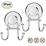 #1: AOFU Suction Cup Hooks, Powerful Vacuum Shower Towel Hook Holder accessories, Strong Stainless Steel Hooks for Bathroom & Kitchen,Towel Hanger Storage,Bath robe, Coat, Loofah,Chrome (2 Pack)