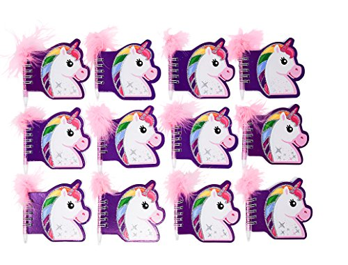 Unicorn Party Supplies: 12 Sets Of Unicorn Notepads and Pens - Each Set Includes 1 Notebook and 1 Pen - Great Party Favor - Satisfaction Guaranteed