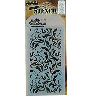 Stampers Anonymous THS-032 Tim Holtz Layered Flourish Stencil, 4.125 x 8.5