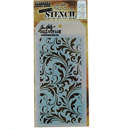- Stampers Anonymous THS-032 Tim Holtz Layered Flourish Stencil, 4.125 x 8.5