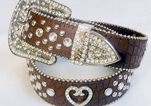 Belt Rhinestone Buckle Heart - Deal Fashionista BROWN HEART Concho Western Rhinestone Bling Studded Removable Buckle Belt