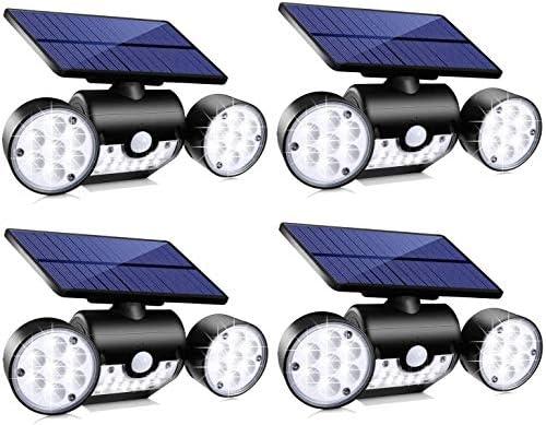 Topmante Solar Motion Sensor Lights Outdoor Lighting, 30 LED IP65 Waterproof 360 Adjustable Solar Powered Wall Lights Dual Head Spotlight Flood Security Lights for Front Door Yard Garden Garage