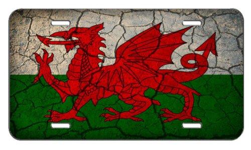 - Wales Flag Crackled Design License Plate