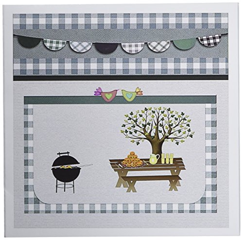 3dRose Set of 12 Greeting Cards, Barbeque Pit, Picnic Table with Platter and Lemon Aid, Blue Gingham (gc_182719_2) -