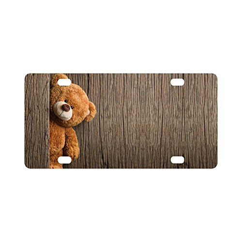 InterestPrint Cute Teddy Bears with Old Wood Metal License Plate for Car, Car Tags Cover for Woman Man - 12