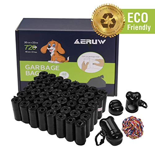 Dog Poop Bag, Pet Dog Waste Bags 720-counts 48 Refill Rolls with 2 Dispensers & Leash Clip Easy Tear-off Poo Pickup Bags…
