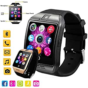 Touch Screen Bluetooth Smart Watch with Camera, Unlocked Watch Cell phone for Android/IOS/ Samsung /iPhone/ Huawei/HTC/ Sony/Nexus (Golden & black)