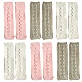 Elesa Miracle 6 Pairs Knitted Baby & Toddler Cozy Soft Argyle Leg Warmers, Pink, White, Gray