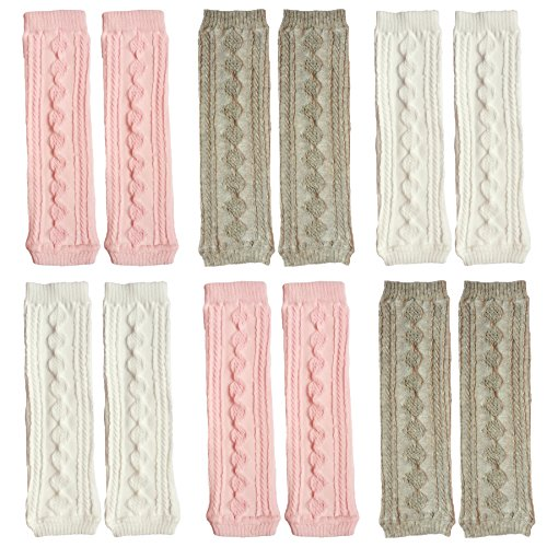 Price comparison product image Elesa Miracle 6 Pairs Knitted Baby & Toddler Cozy Soft Argyle Leg Warmers, Pink, White, Gray