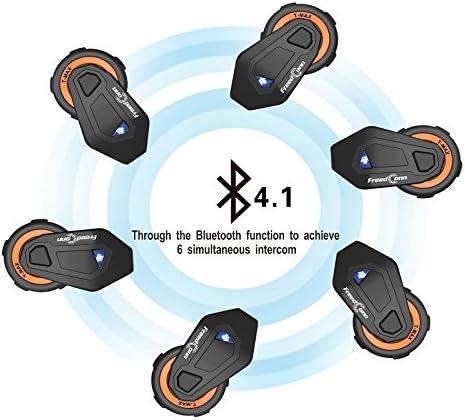 Bluetooth 4.1 Motorcycle Motorbike Helmet Intercom Interphone Headset Kit FM Radio 2 Pack Full Duplex 6 Riders Group Helmet Intercom Range 1000m GPS Stereo Music IPX65 Waterproof Voice Prompt