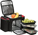 over the shoulder cooler bag - Meal Prep Lunch Box Cooler with 3 Reusable Food Prep Containers & Foil Insulated w/Separate Bag Compartments, Workout Accessory Pockets & Shoulder Strap, in Black/Red, Designed for Men & Women