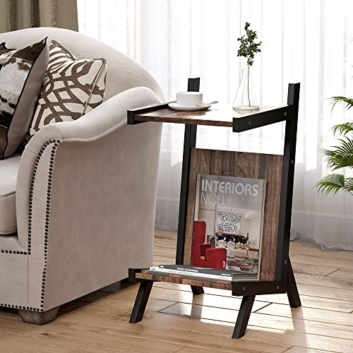 Tribesigns Rustic End Tables, 2 Tier Magazine Rack Side Table with Storage, Retro Nightstand for Living Room or ()