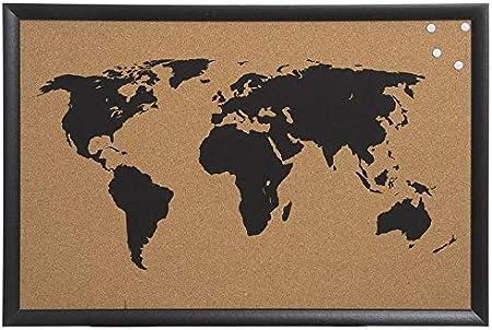 Decowood - Mapa Mundi de Corcho con Marco para Marcar Tus Viajes por el Mundo y Colgar en la Pared, Negro - 60x40cm: Amazon.es: Hogar