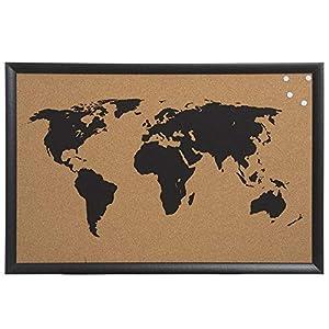 Decowood – Mapa Mundi de Corcho con Marco para Marcar Tus Viajes por el Mundo y Colgar en la Pared, Negro – 60x40cm