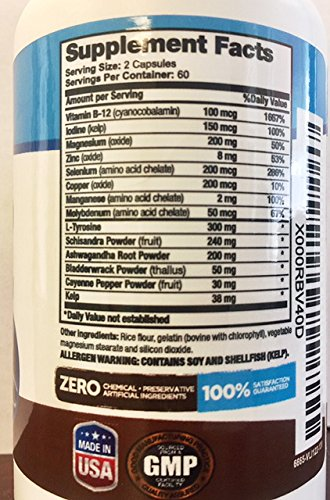 100 Naturals Thyroid Supplement (120 Caps) Support Healthy Thyroid Function and Metabolism, Vitamin B12, Iodine, Zinc, Selenium, Ashwagandha Root, Copper, Coleus Forskohlii & more - 60 Day Supply